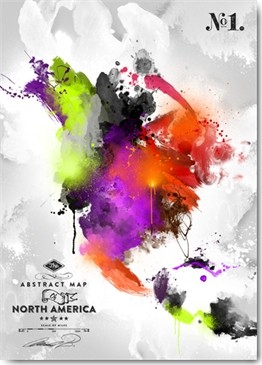 Mikael B. Design, Abstract America, No. 1 (Wunschgröße, Malerei, abstrakt, Kontinent, Amerika, Nordamerika, modern, Wohnzimmer, Jugendzimmer, Leuchtfarben, Büro, neon / bunt)