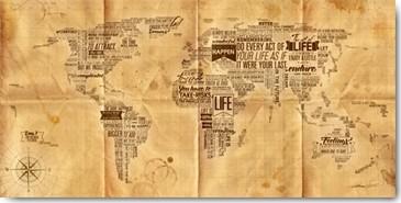 Mikael B. Design, World of Life, Seachart (Wunschgröße, Malerei, Collage, Kontinente, Weltkarte, Buchstaben, Worte, Seekarte, modern, Wohnzimmer, Büro, beige / braun)