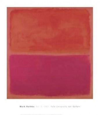 Mark Rothko, No. 3, 1967 (Abstrakte Malerei, abstrakter Expressionismus, meditativ, Farbfelder, verschwommen, Farbwolken, Farbschleier, Transparenz, Klassische Moderne, Büro, Business, Wohnzimmer, rot/ pink)