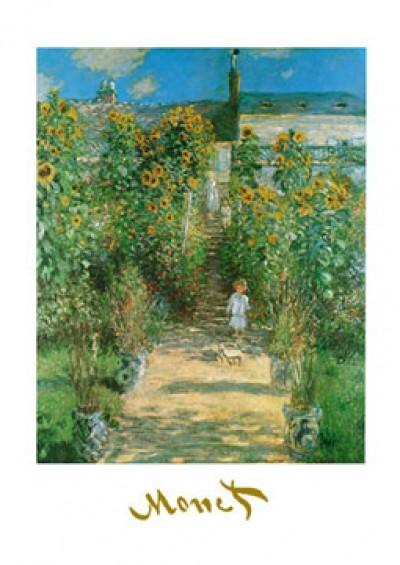 Claude Monet, Artist \'s Garden at Vetheuil (Impressionismus, Malerei, Garten, Gartenweg, Kind, Sonnenblumen, Blumen, Licht / Schatten, Blüten, Idylle, Natur, Frankreich, Schlafzimmer, Wohnzimmer, Wintergarten, klassische Moderne, bunt)