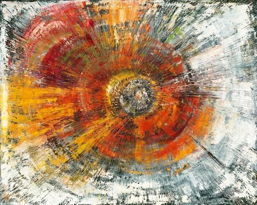 Monika Arns-Müller, Explosion (Wunschgröße, Malerei, moderne Malerei, abstrakte Malerei, Kreise, Spiralen, Bewegung, Drehung, Dynamik, Flur, Treppenhaus, Wohnzimmer, Büro, bunt)