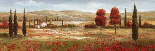 Digitaldruck Nan, Tuscan Poppies II (Wunschgröße, Malerei, Italien, Toskana, Felder, Landschaft, Zypressen, Bäume, Mohnblumen, Hügellandschaft, Stille, Ruhe, Wohnzimmer, Treppenhaus, bunt)