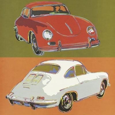 Leinwandbild, Rod Neer, Porsche 356 squared (Porsche, Modell 356, Kultauto, Auto, Pop/Op Art, Pop Art, Kult, Vintage, Wohnzimmer, Jugendzimmer, Treppenhaus, bunt)
