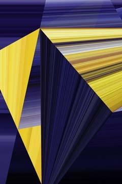 Ortwin Klipp, Lichtlinien 363 (Wunschgröße, Photokunst, Fotokunst, Lichtlinien, Dreiecke, Streifen, Linien, Büro, Business, Wohnzimmer, gelb / lila)