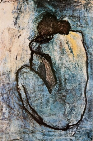 Pablo Picasso, Pablo Picasso, Blauer Akt, ca. 1902 (Klassische Moderne, Malerei, Blaue Periode, Frau, Akt, nackt, Rückenakt, Tristesse, Melancholie, Schlafzimmer, blau / grau)