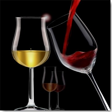 Peter Hillert, Liquids VII (Fotokunst, Glas, Rotwein, Weißwein, Transparenz, Eingießen, Küche, Gastronomie, Esszimmer, Bistro, Wunschgröße, Modern, rot / gold / schwarz)