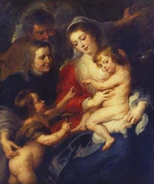 Peter Paul Rubens, Die heilige Familie mit der... (Heilige Familie, Maria, Jesus, Elisabeth, Johannes, religiös, Barock, Klassiker, Malerei, Schlafzimmer, Treppenhaus, Wohnzimmer, Wunschgröße, bunt)