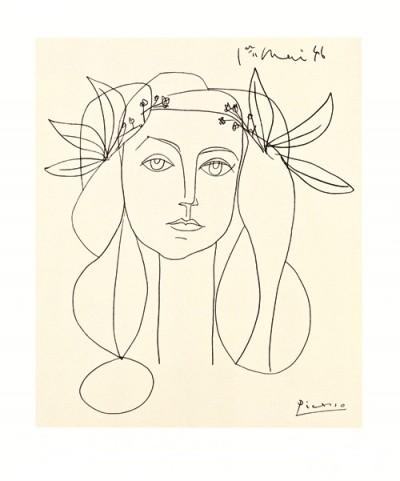 Pablo Picasso, Nur noch wenige Exemplare, Siebdruck auf Büttenpapier: Head of a Woman, Preis auf Anfrage (Klassische Moderne, Druck, Zeichnung, figurativ, Frau, Kopf, Portrait,  Schlafzimmer, Wohnzimmer, Treppenhaus, schwarz / weiß)