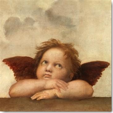 Raffael, Die Sixtinische Madonna (Detail) II (Klassiker, Sixtinische Madonna, Engel, Putte, Renaissance, Malerei, Wohnzimmer, Schlafzimmer, Treppenhaus, Wunschgröße, bunt)