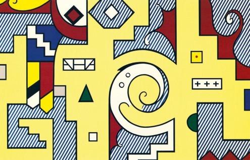 Roy Lichtenstein, American Composition II (Pop/Op Art, Pop Art, Amerikanische Kunst, Komposition, Abstrakte Formen, Muster, Klassische Moderne, Malerei, bunt, Jugendzimmer, Wohnzimmer)