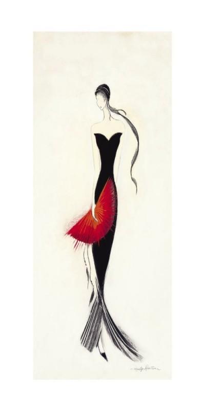 Marilyn Robertson, LADY IN BLACK II (Malerei, Frau, schwarzes Kleid, Abendkleid, Eleganz, Fächer, dekorativ, Schlafzimmer, Treppenhaus, Wohnzimmer, schwarz / weiß, rot)