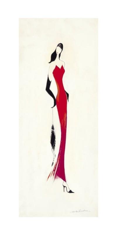 Marilyn Robertson, LADY IN RED I (Malerei, Frau,rotes Kleid, Abendkleid, Eleganz, lange Handschuhe,  dekorativ, Schlafzimmer, Treppenhaus, Wohnzimmer, schwarz / weiß, rot)