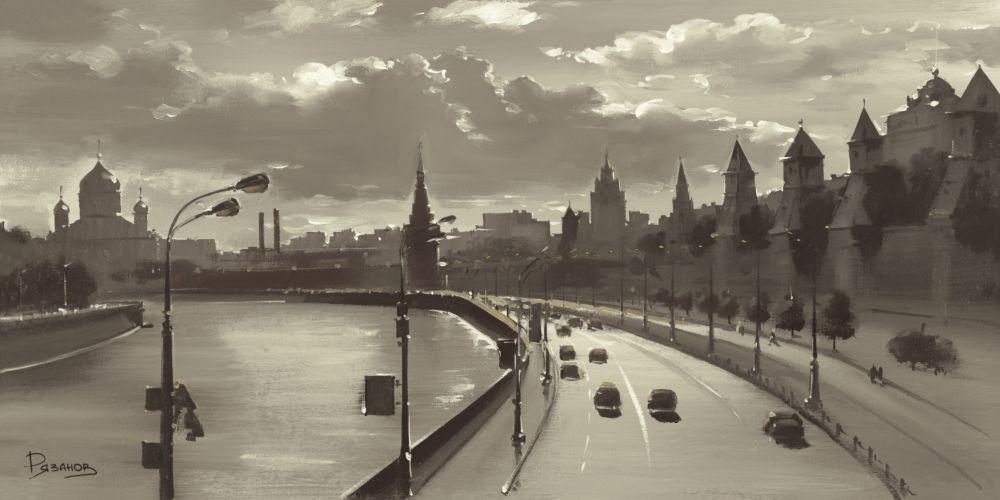 Ryazanov, The Moscow Kremlin River Walk (Photografie, Fotokunst, Städte, Hauptstadt, Moskau, Fluss,  Büro, Business, Wohnzimmer, schwarz/weiß)