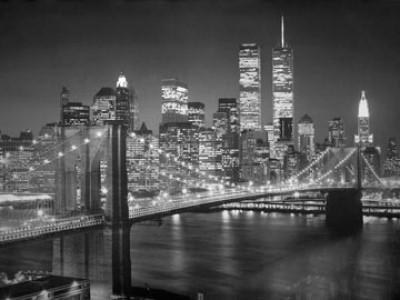 Henri Silberman, Brooklyn Bridge (Fotokunst, Photokunst, schwarz/weiß, Stadt, Brücke, Fluß)