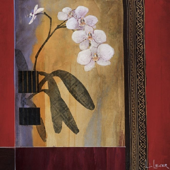 Leinwandbild, Don Li-Leger, Orchid Lines I (Modern, Malerei, Dekorativ, Abstrakt, Farbfelder, Muster,  Blüten, Orchideen, Wohnzimmer, Treppenhaus,  bunt)