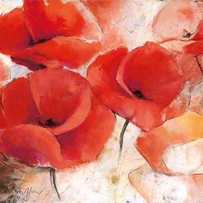 Thomas Aeffner, Mohnwiese (Floral, Wunschgröße, Natur, Blumen, Mohnblüten, Mohn, Business, Büro, Arztpraxis, Wohnzimmer, rot)