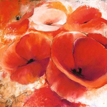 Thomas Aeffner, Mohnspiel (Floral, Natur, Blumen, Mohnblüten, Mohn, Business, Büro, Arztpraxis, Wohnzimmer, rot)