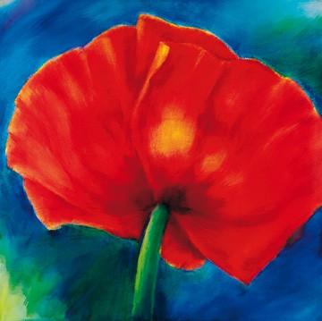 Thomas Aeffner, Nachtmohn I (Limitiert und Handsigniert) (Floral, Natur, Blumen, Mohnblüten, Mohn, leuchtend, Business, Büro, Arztpraxis, Wohnzimmer, rot / blau)