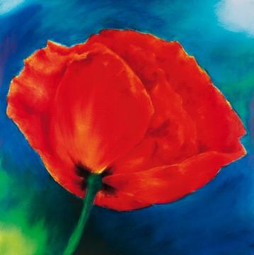 Thomas Aeffner, Nachtmohn II (Limitiert und Handsigniert) (Floral, Natur, Blumen, Mohnblüten, Mohn, leuchtend, Business, Büro, Arztpraxis, Wohnzimmer, rot / blau)