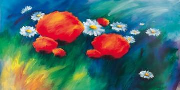 Thomas Aeffner, Wiesengrund (Limitiert und Handsigniert) (Floral, Natur, Blumen, Mohnblüten, Mohn, Margariten, Blumenwiese, leuchtend, Business, Büro, Arztpraxis, Wohnzimmer, rot / blau)