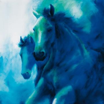 Thomas Aeffner, Anmut (Limitiert und Handsigniert) (Malerei, Pferde, blaue Pferde, Energie, Kraft, Galopp, Arztpraxis, Wohnzimmer, Jugendzimmer, blau)