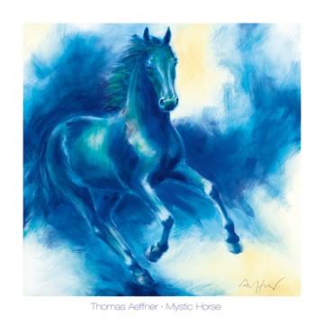 Thomas Aeffner, Mystic Horse (Malerei, Pferd, blaues Pferd, Energie, Kraft, Galopp, Arztpraxis, Wohnzimmer, Jugendzimmer, blau)