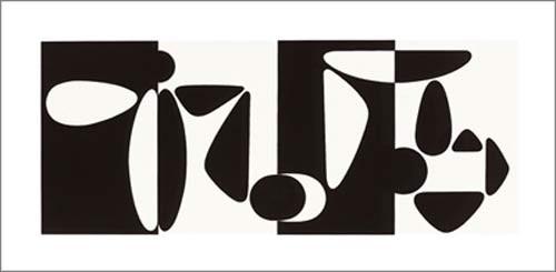 Victor Vasarely, Tampico, 1953 (Büttenpapier) (Malerei, Op-Art, Abstrakt, Ornamente, abstrakte Formen, Wohnzimmer, Büro, schwarz / weiß)