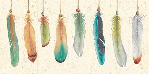 Leinwandbild Daphne Brissonnet, Feather Tales VIII (Federn, bunte Vogelfedern,  dekorativ, Reihe, aufgereiht, Treppenhaus, Wohnzimmer, Schlafzimmer, Malerei, bunt)
