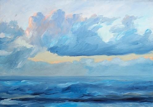 Werner Maier, Abendstimmung am Meer (Meer, Wellen, Wasser, Unruhe, Bewegung, Wolken, Horizont, Meeresbrise, impressionistisch,  modern, dekorativ, Treppenhaus, Wohnzimmer, Wunschgröße, Malerei, blau/bunt)