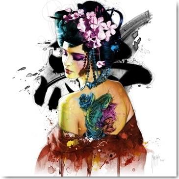 Patrice Murciano, Memories of a Geisha (Wunschgröße, Pop Art, Frau, Leuchtfarben, Neon, Schrill, Modern, Malerei, Jugendzimmer, Wohnzimmer, Geisha)