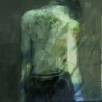 Yulia Leshkova, Him (Modern, Malerei, Figurativ, Gothik, Punk, Emo, Mann, Rückenansicht, Tattoo, Tätowierung, Tribals, Reflexionen, grau)