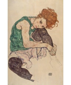 Egon Schiele, Sitzende Frau mit hochgezogenem Knie. 1917