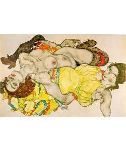 Egon Schiele, Zwei Mädchen in verschränkter Stellung liegend. 1915.