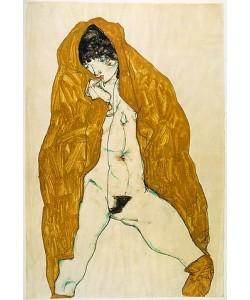 Egon Schiele, Weiblicher Akt mit gelbem Umhang. 1914