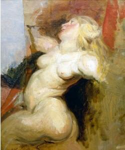 Eugène Delacroix, Kopie einer nackten Frauenfigur aus dem Medici-Zyklus von Rubens.