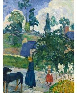 Paul Gauguin, Entre les Lys. Bretonische Landschaft mit Hund und Kindern. 1889.