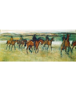 Edgar Degas, Rennpferde beim Ausritt.