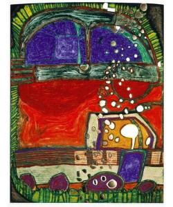 Friedensreich Hundertwasser, Blindes Auto I und LKW (1997) (Grano-Lithographie)