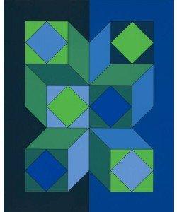 Vasarely Victor Ohne Titel XLIII (Dunkelblau) (Siebdruck, handsigniert, nummeriert)