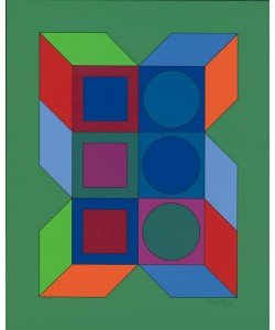 Vasarely Victor Ohne Titel XLV (Grün) (Siebdruck, handsigniert, nummeriert)