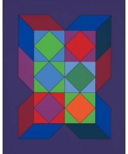 Vasarely Victor Ohne Titel XLVI (Lila) (Siebdruck, handsigniert, nummeriert)