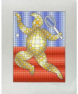 Vasarely Victor Tennis Rot/Blau auf Silber (Siebdruck, handsigniert)
