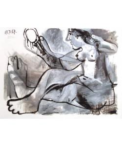 Picasso Pablo Akt mit Spiegel (1967) (Frequenzmodulierte Rastertechnik, Bütten)