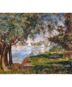 Auguste Renoir, Blick durch Bäume auf Segelboote in Bougival. 1888