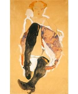Egon Schiele, Sitzendes Mädchen mit schwarzen Strümpfen. 1911