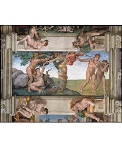 Michelangelo, Sündenfall und Vertreibung aus dem Paradies.  Deckengemälde in der Sixtinischen Kapelle