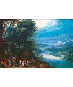 Jan Brueghel d.Ä., Waldige Flusslandschaft mit Fahrweg. Um 1602