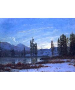 Albert Bierstadt, Winterlandschaft in den Rocky Mountains.