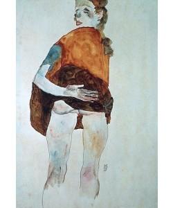Egon Schiele, Stehendes Mädchen mit gehobenem Rock. 1911.
