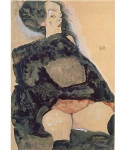 Egon Schiele, Dame in schwarz. 1911.